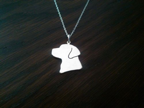 Labrador head dog silhouette pendant sterling silver handmade by saw piercing